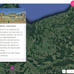 Beispiel der Weltkarte. Man sieht einen Text über Berlin.